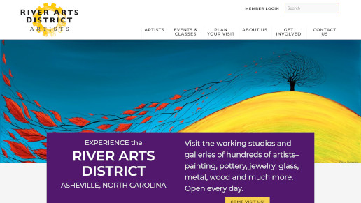 Desktop view of website portfolio item for the River Arts District of Asheville