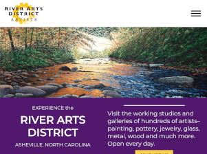 Tablet view of website portfolio item for the River Arts District of Asheville