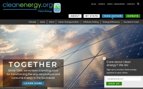 Website screenshot for Southern Alliance for Clean Energy case study.